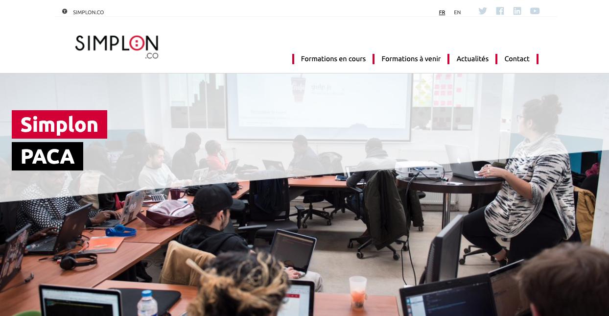 Capture d'écran du nouveau site paca.simplon.co